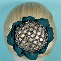 Rhinestone Studded Hair Bun Snood with Claws