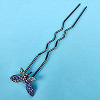 Long Hairpin with Crystal Rhinestone Butterfly
