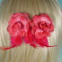 Set of Two Silk Flower Hair Clips