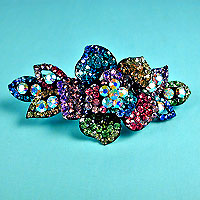 Multicolored Rhinestone Flower Barrette