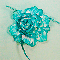 Large Flower and Feathers Hair Clip and Ponytail Holder
