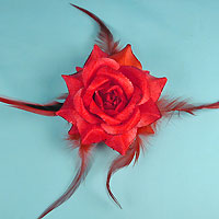 Rose Glitter Flower Clip and Ponytail Elastic