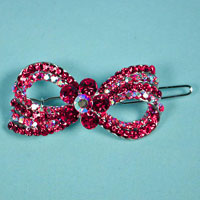 Small Bow Crystal Rhinestone Barrette