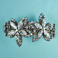 Large Crystal Rhinestone Flower Barrette