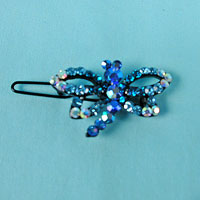 Small Dragonfly Rhinestone Barrette