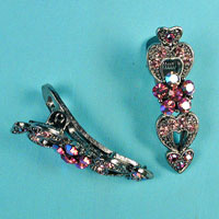 Set of Two Small Rhinestone Hair Clips