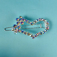 Small Crystal Rhinestone Heart Barrette