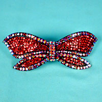Large Bow Crystal Rhinestone Barrette