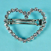 Large Heart Shaped Rhinestone Barrette