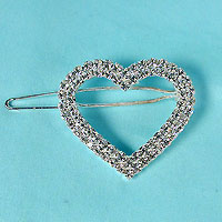 Heart Barrette with Crystal Rhinestones