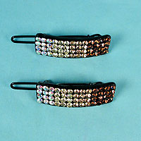 Set of Two Small Crystal Rhinestone Barrettes