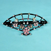 Fan Barrette with Crystal Rhinestones