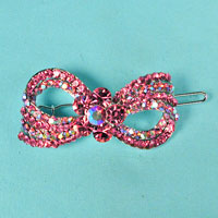 Bow Flower Crystal Rhinestone Barrette
