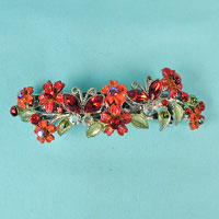 Flower Barrette with Rhinestones