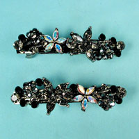 Two Stars and Flowers Rhinestone Barrette