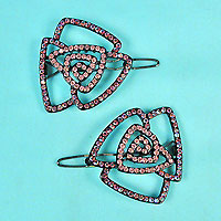 Two Rose Rhinestone Barrettes