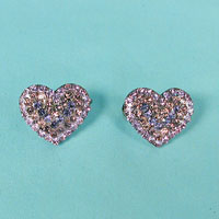 Two Tiny Rhinestone Heart Barrettes