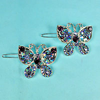 Set of Two Butterfly Crystal Rhinestone Barrettes