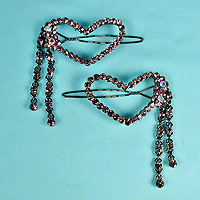 Set of Two Crystal Rhinestone Heart Barrettes