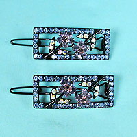 Set of 2 Crystal Rhinestone Barrettes