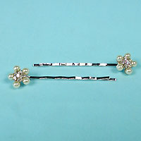 Bobby Pins Trimmed with Pearls and Rhinestones