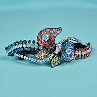 Large Multicolored Crystal Rhinestone Barrette
