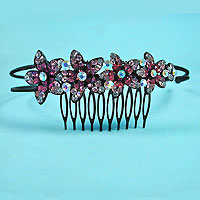 Headband with Crystal Rhinestone Flowers