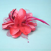 Flower Feather Beaded Clip and Pin Hair Accessory