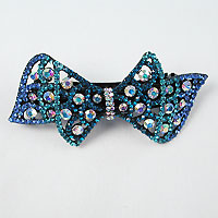 Large Rhinestone Barrette in a Bow Design.