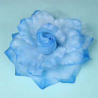 Fabric and Sparkle Gauze Flower Hair Clips