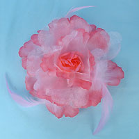 Sparkling Hair Flower Clip with Feathers