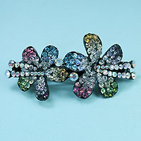 Multicolored Two Flower Barrette