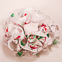 Large 6-Inch Satin and Chiffon Stripped Print Clip Claw Bows