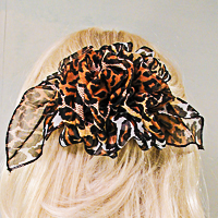 Large Full Puffy Print French Clip Chiffon Bow with Streamers