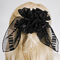Large Chiffon/Satin French Clip Bows with Metallic Threads