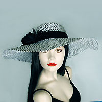 Wide Brim Sun Hat with Black Flower Decoration