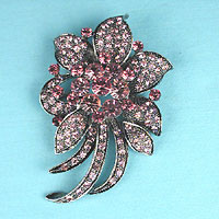Crystal rhinestone flower pin