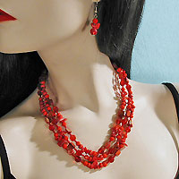 Three Strand Necklace and Earrings Set