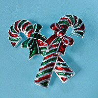 Red and Green Candy Canes Pin