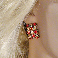 Red and Gold Semi Hoop Clip Earrings