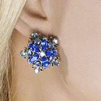 Crystal Rhinestone Clip Earrings