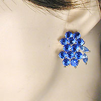 Small Blue Cluster Clip Earrings