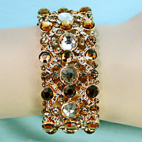 Gold, Champagne and Amber Crystal Rhinestone Bracelet