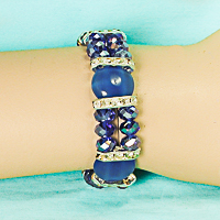Blue Cabacho and Iridescent Bracelet with Silver