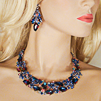 Large Crystal Rhinestone Statement Bib Choker Necklace Earrings Set - J553