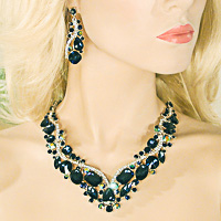 Large Crystal Rhinestone Statement Bib Necklace Solid/Multi Colors