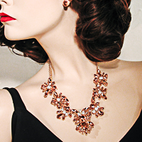 Peach Crystal Rhinestone Statement Bib Necklace Earring Set Bridal F
