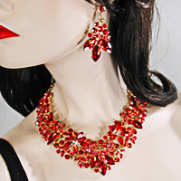 Large Statement Crystal Rhinestone Bib Necklace & Earring Set