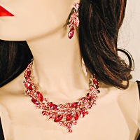 Large Swirled Bib Statement Crystal Rhinestone Necklace & Earring Set