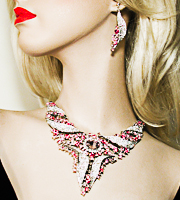 Pink and Clear  Extra Large Statement Crystal Rhinestone Pointed Bib Necklace Earrings Set&squot;